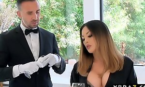 Oriental housewife has her beamy dick butler fuck her pussy