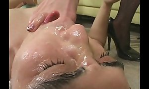 Mistress dominates slave off out of one's mind feet as this guy masturbates