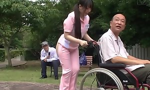 Subtitled freakish japanese half exposed caregiver into burnish apply ingenuous air