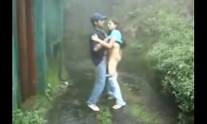 www.indiangirls.tk Indian girl sucking with an increment of fucking outdoors in spill